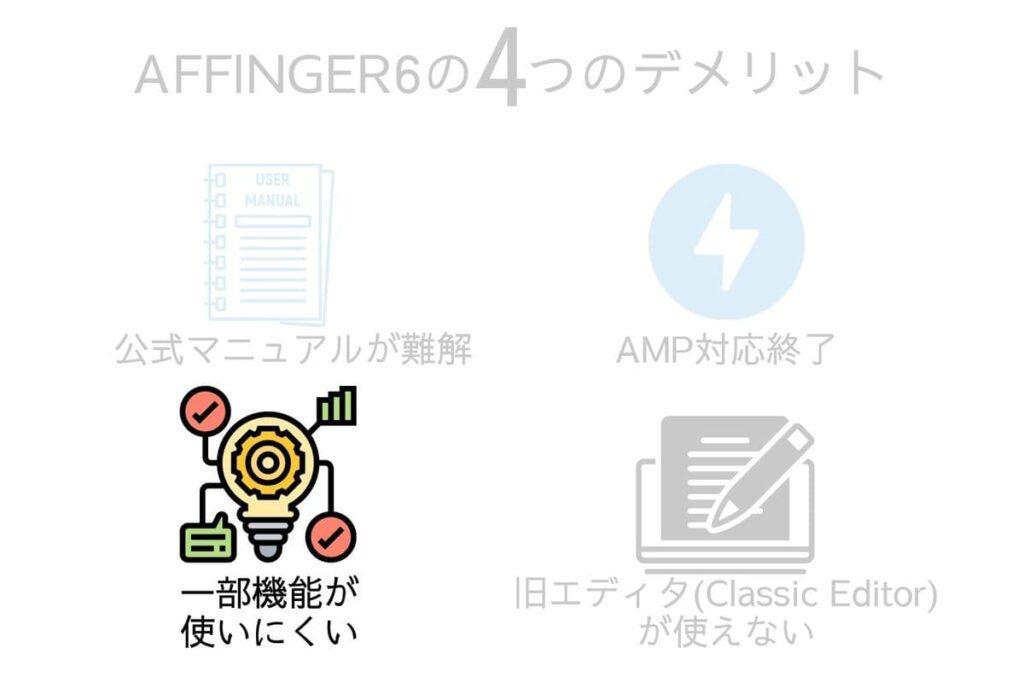 AFFINGER6(アフィンガー6)のデメリット3つ目は一部の機能がブロックエディタで使いにくいこと