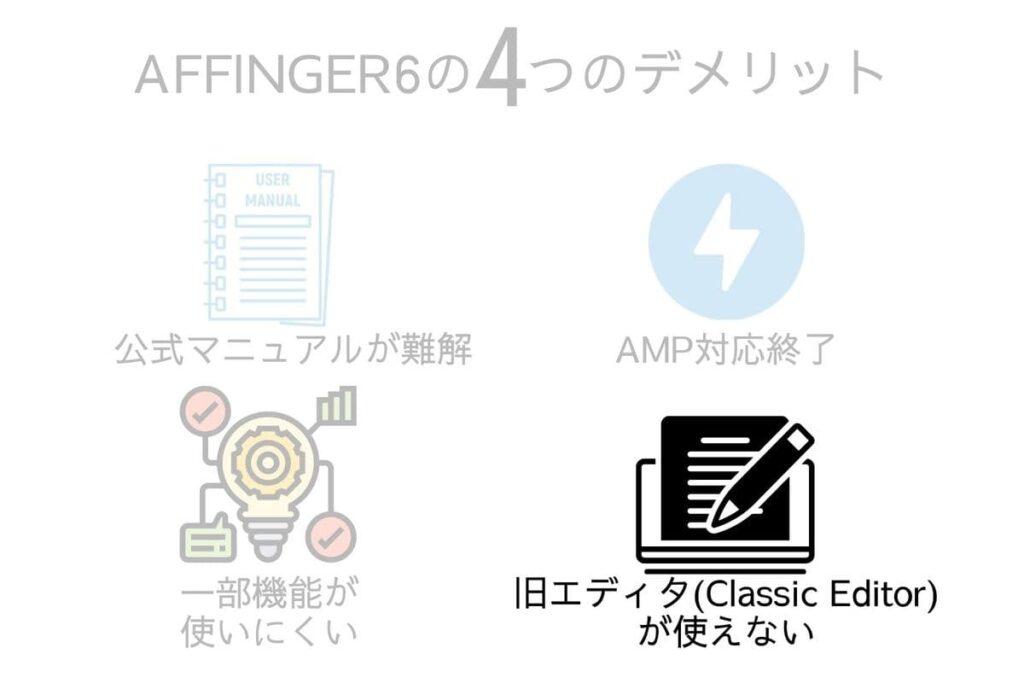 AFFINGER6(アフィンガー6)のデメリット4つ目は旧エディタ(Classic Editor)解説サイトが多いこと