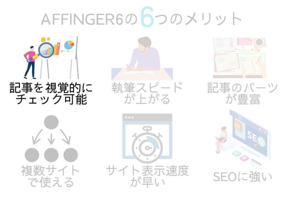 AFFINGER6(アフィンガー6)のメリットは記事装飾を視覚的にチェックできる